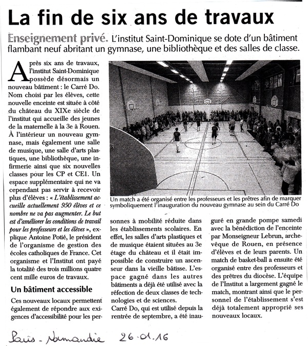 Article Inauguration Paris Normandie 26.01.2016