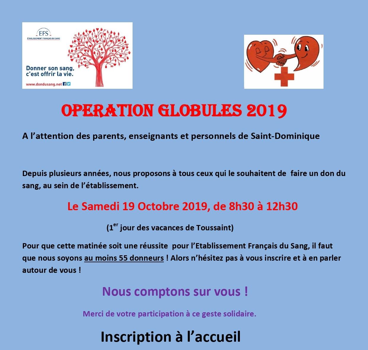 Opération globules 2019 !!!